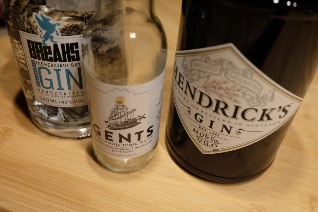 Gents Swiss Roots Tonic Water, Breaks Gin & Hendrick's Gin