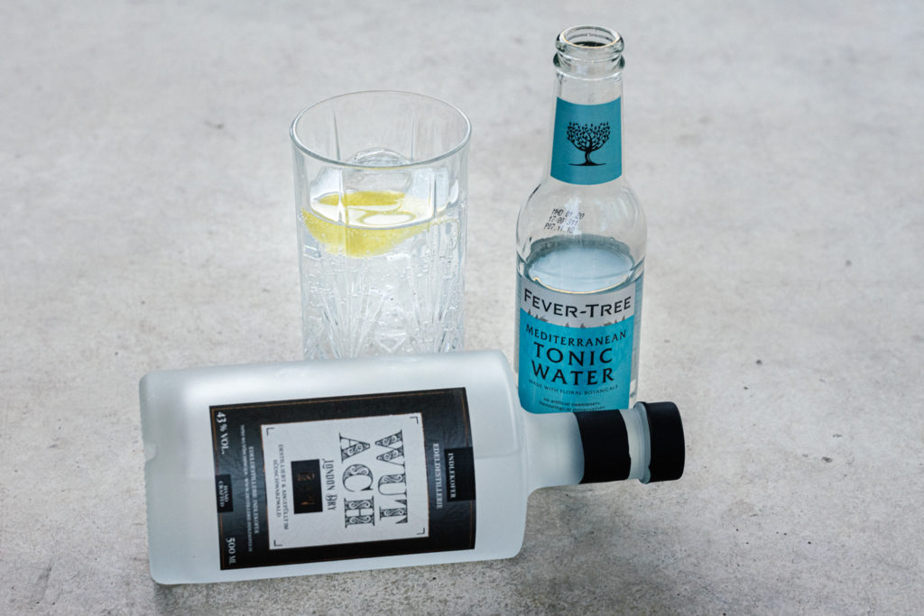 Wutach Gin als Gin & Tonic mit Fever Tree Mediterranean Tonic Water