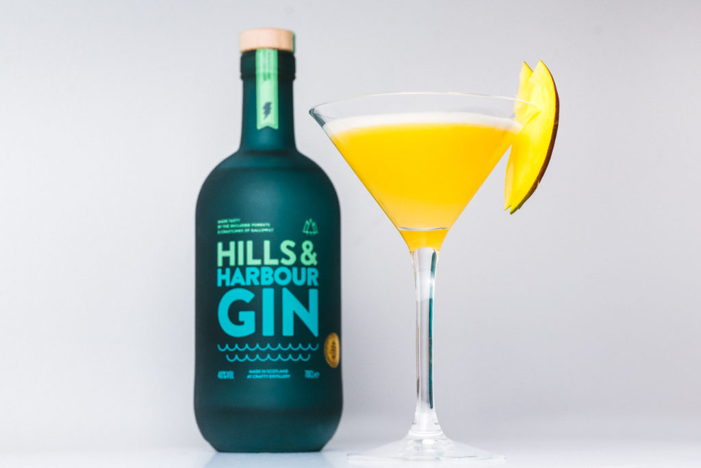 Hills and Harbour Gin Cocktail, Mango Cocktail, Mango Drink, Gin Drink, Hills & Harbour Gin